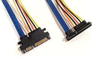 22 Pin SATA Male to Female Left Angle Power and Data Extension Cable - 8 inches