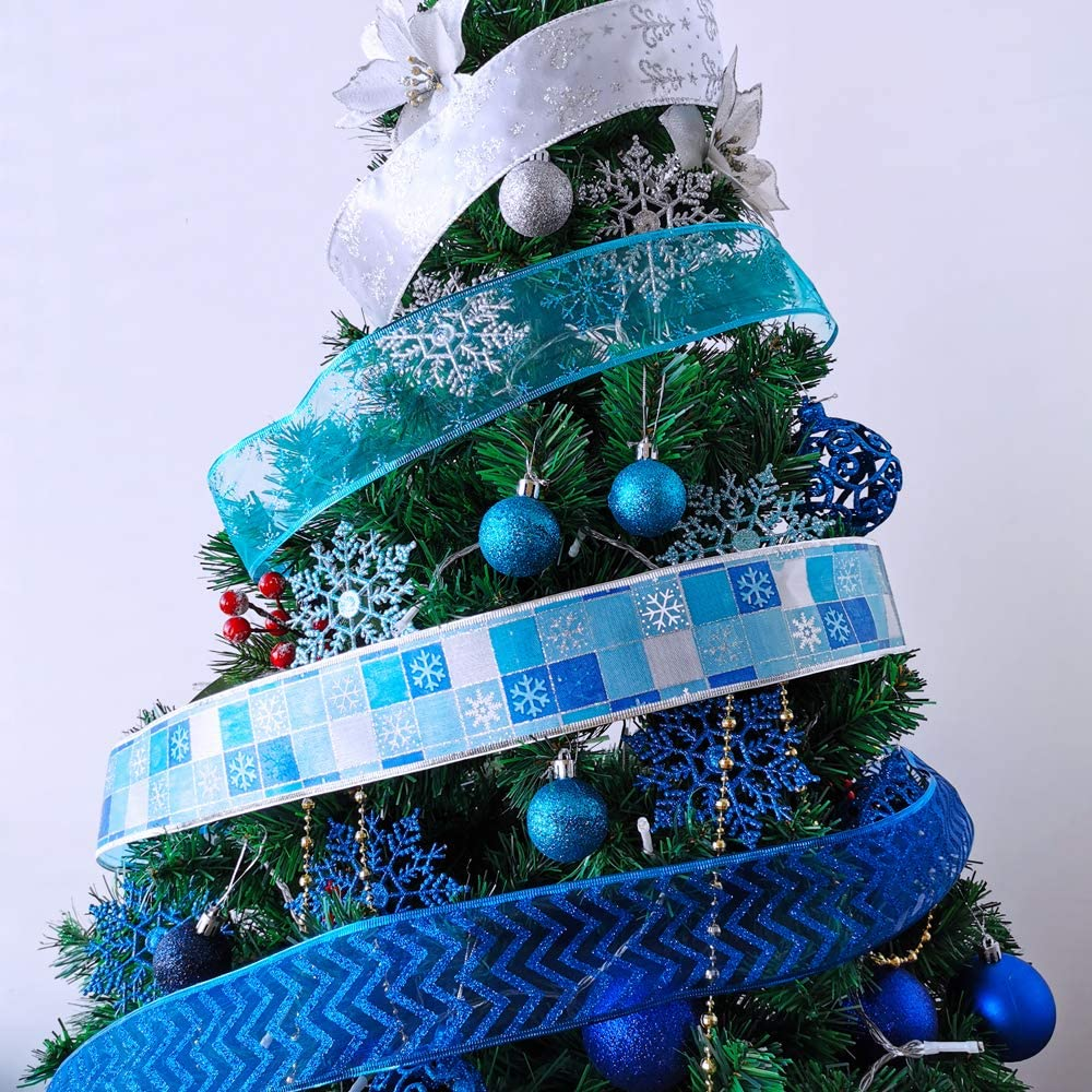 8 Rolls 48 Yards Blue Silver Christmas Tree Ribbon Wired Bows Ribbon Assorted Holiday Ribbon Snowflake Ribbon Glitter Mesh 2.5 W for Christmas Garland Wreath Ribbon Ornaments Gift Wrapping Bow Craft
