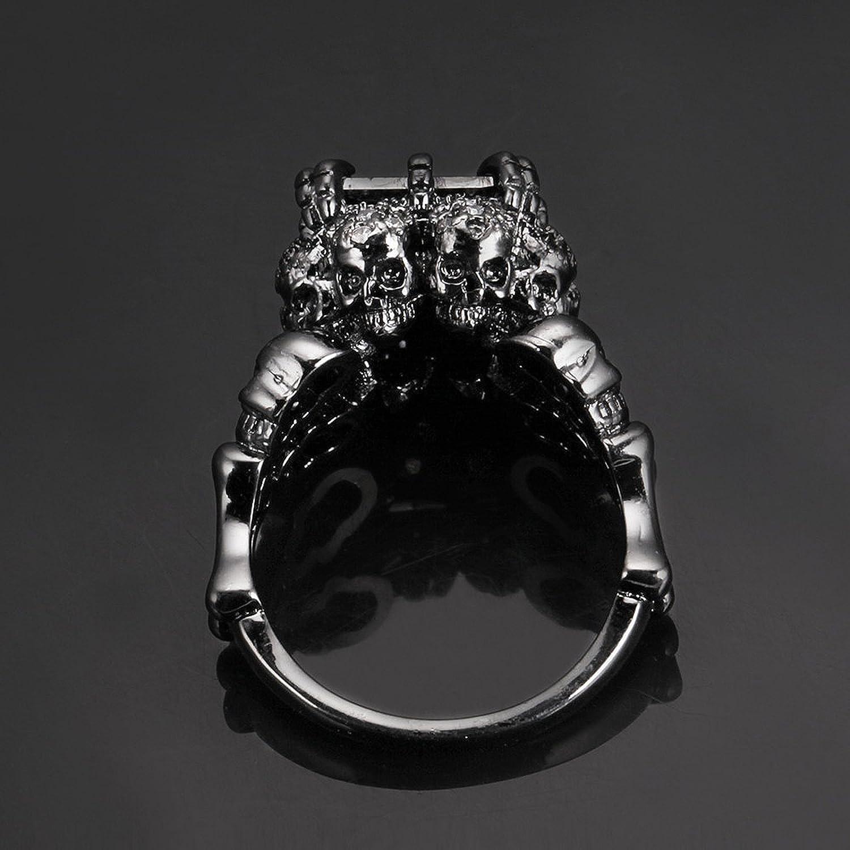 AnazoZ La Mari/ée Cadav/érique Bague Femme Vintage Gothique Anneaux Cr/âne Galb/é Noir//Blanc Incrust/é Zircon Bijoux Punk-Noir Taille 51.5-59