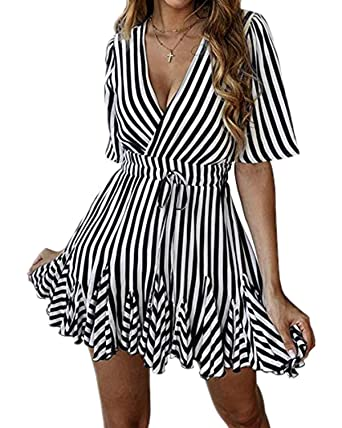 3b7128e57fb9 Mai Poetry Women s Sexy Deep V Neck Dresses Striped Ruffle Hem Pleated Mini  A Line Dress