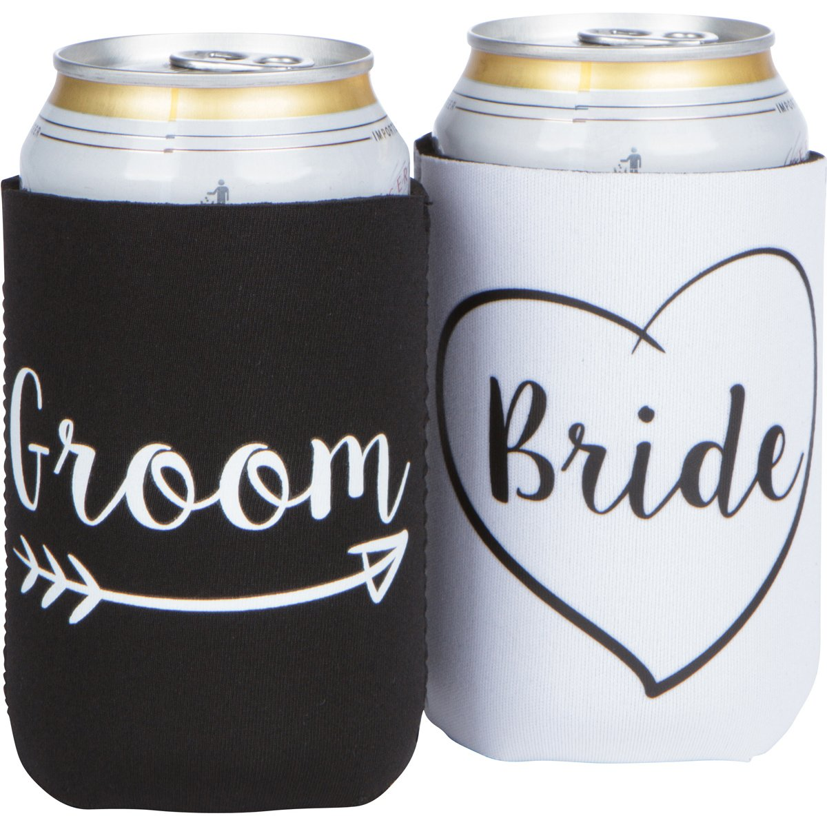 Cute Wedding Gifts - Bride and Groom Novelty Can Cooler Combo - Engagement Gift for Couples by The Plympton Company (Image #6)