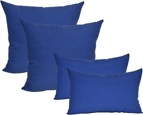 Resort Spa Home Set of 4 Indoor Outdoor Pillows – 17 Square Throw Pillows 11 x 19 Rectangle Lumbar Decorative Throw Pillows – Solid Royal Admiral Blue Fabric