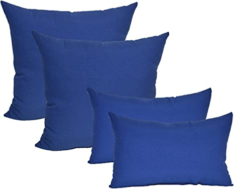 Resort Spa Home Decor Set of 4 Indoor//Outdoor Decorative Accent Lumbar//Rectangle Pillows Cobalt Royal Blue Solid