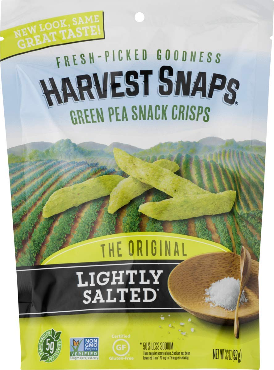 Harvest Snaps Lightly Salted Green Pea Snack Crisps, Gluten-Free, Baked and Crunchy Vegetarian Snack With Plant Protein and Fiber, 3oz/3Count