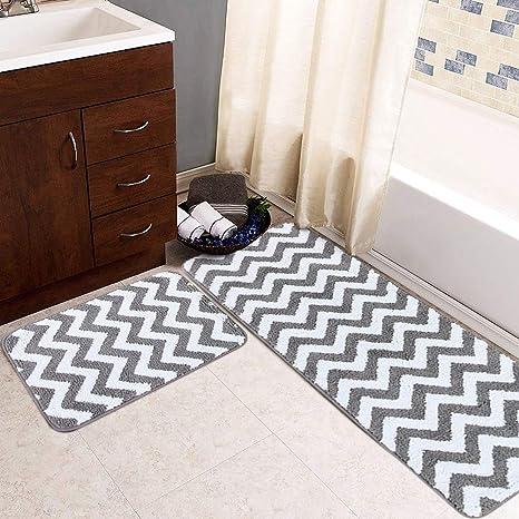 Bathroom Rugs That Absorb Water.Amazon Com Carvapet 2 Pieces Microfiber Chevron Non Slip Bathroom