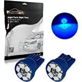 Partsam 2pcs T10 194 Wedge Blue LED Lights Bulbs for License Plate Lamps License Frame Tag Number Plate