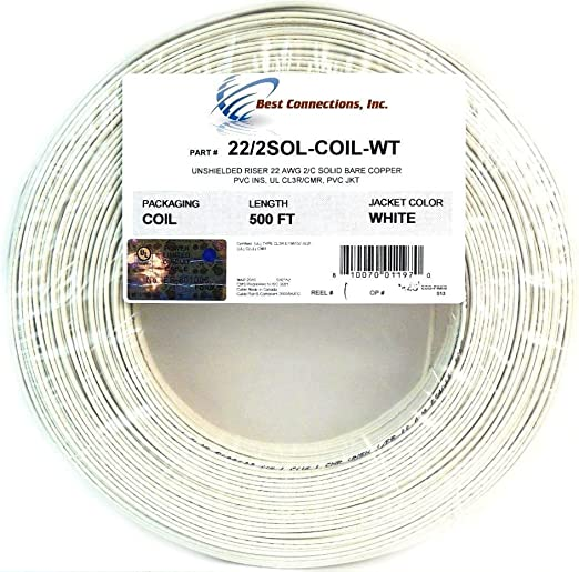 22 Gauge 4 Conductor 100 Feet White Solid Copper Security Alarm Wire Cable