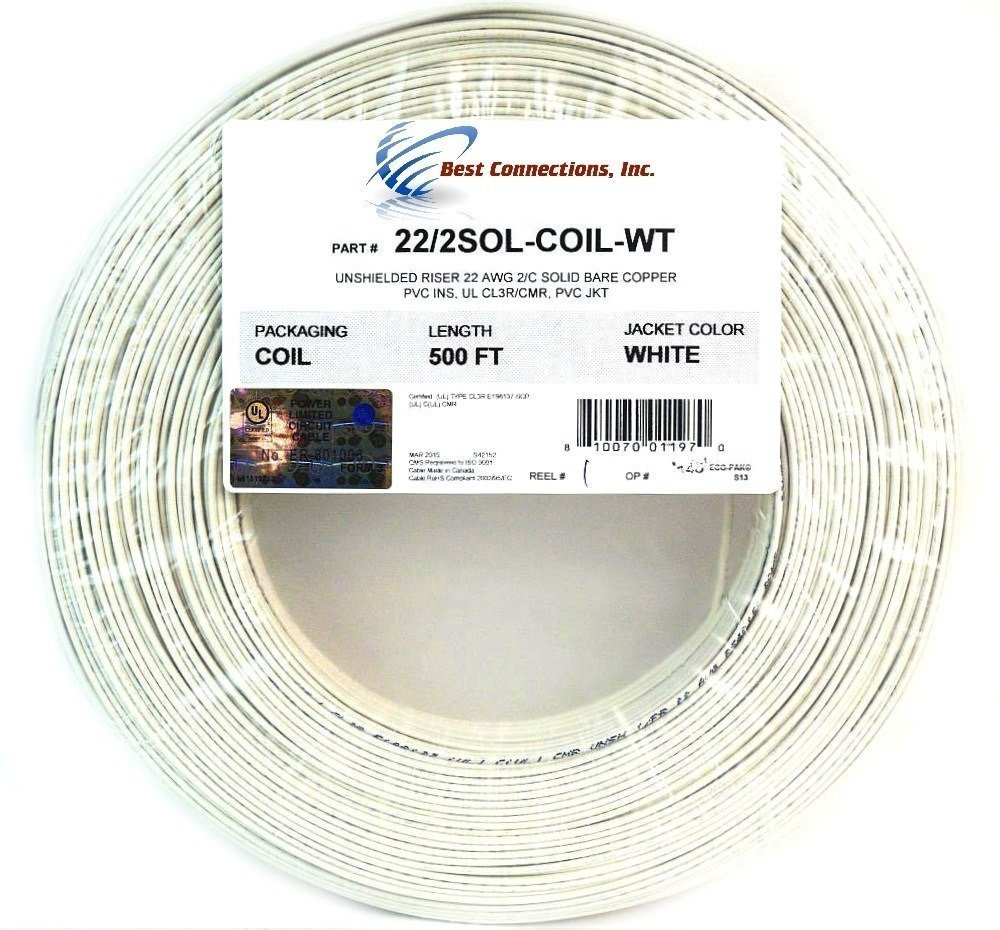 Alarm Wire 22 Gauge 500\' Solid Copper Security Cable White UL Listed ...