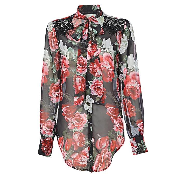 Mujer Camisa Casual Camisera Mangas Largas Blusas Mujer de Gasa Estampado Floral V Cuello Fiesta,