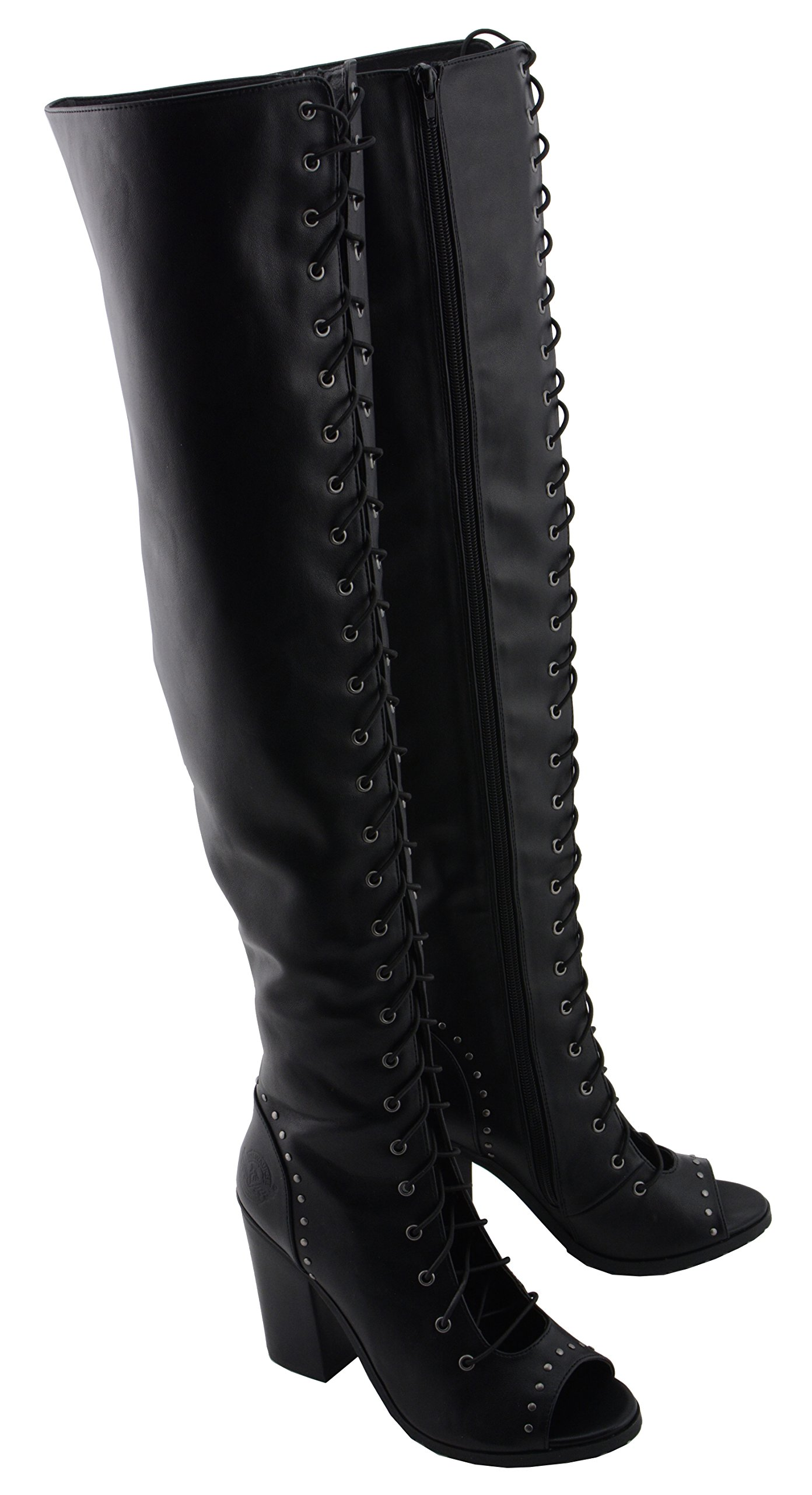Milwaukee Performance Women's Lace Front Knee High Boot (Black, 7) by Milwaukee Performance