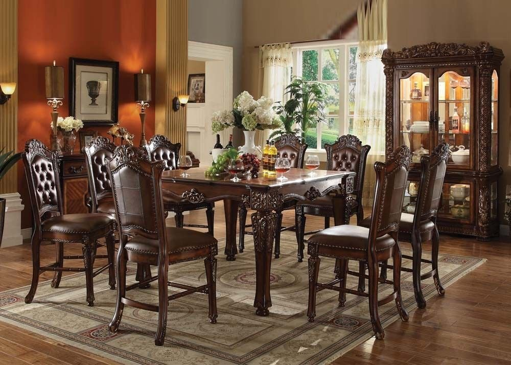 amazoncom acme vendome traditional cherry finish counter height dining table set table u0026 chair sets