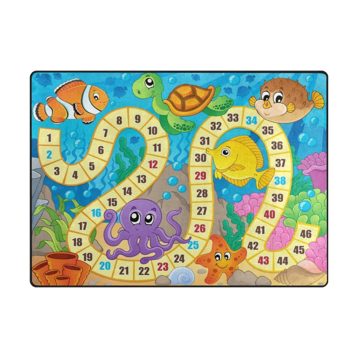 My Little Nest Kids Children Under Sea World Fish Turtle Coral Board Game Area Rug Baby Boys Girls Play Mat Non Slip Soft Educational Fun Carpets for Bedroom Classroom Nursery 4'10'' x 6'8''