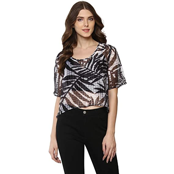 66700dbc64c76 PORSORTE Women s Poly Organza Black and White Crop Top (Transparent)   Amazon.in  Clothing   Accessories