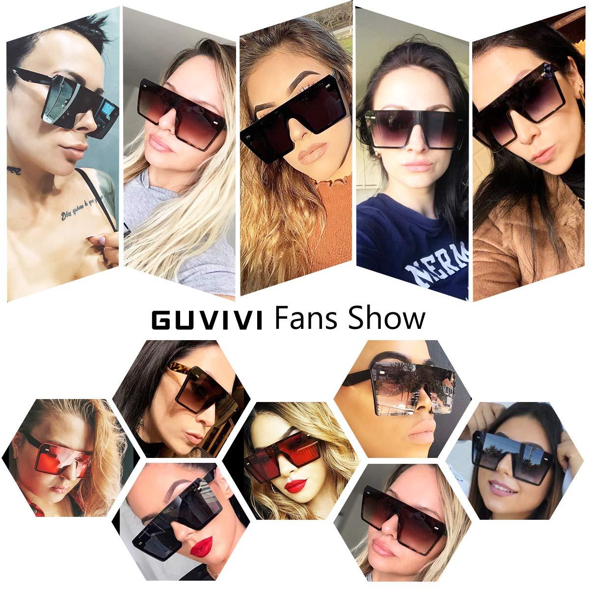Amazon.com: GUVIVI - Gafas de sol cuadradas de gran tamaño ...