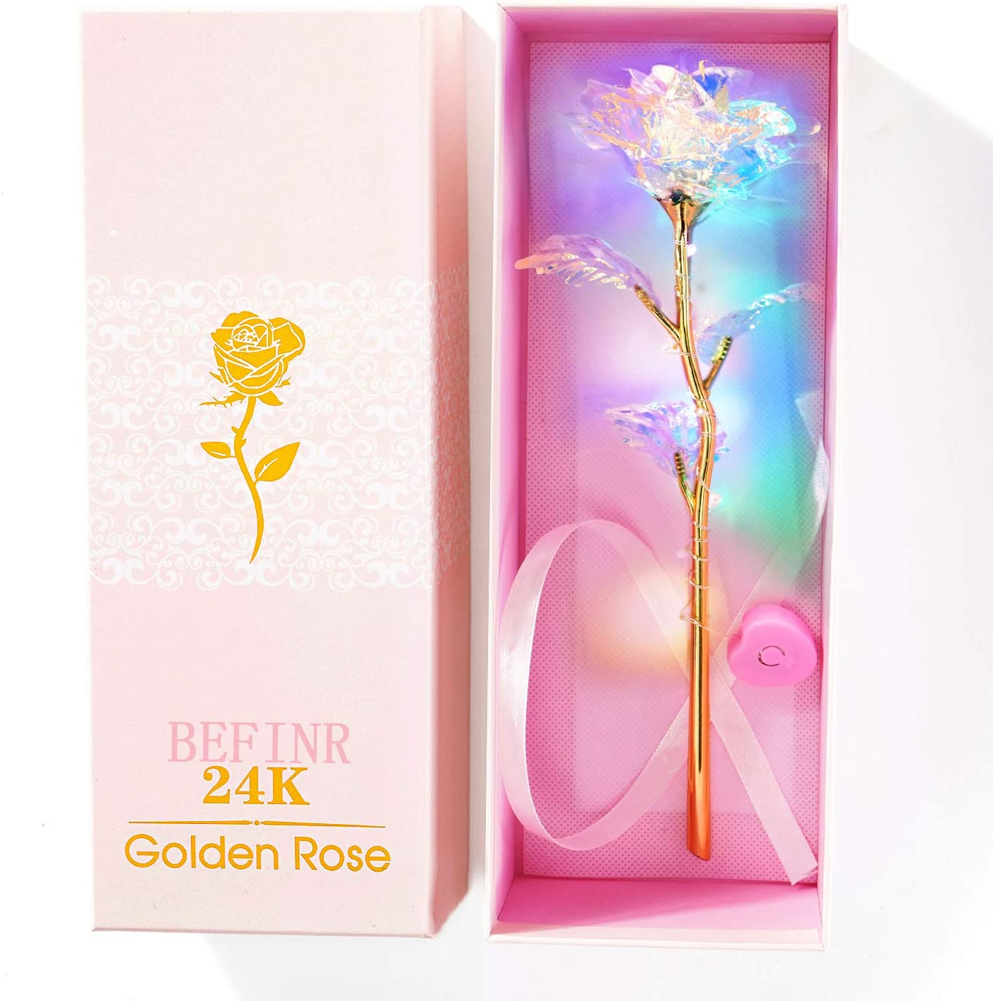 Beferr 24K Colorful Luminous Rose Artificial LED Light Flower Unique Gifts Mother's Day Thanksgiving Valentine's Day Girl's Birthday Party, Best Gifts for Wife Girl Friend Women