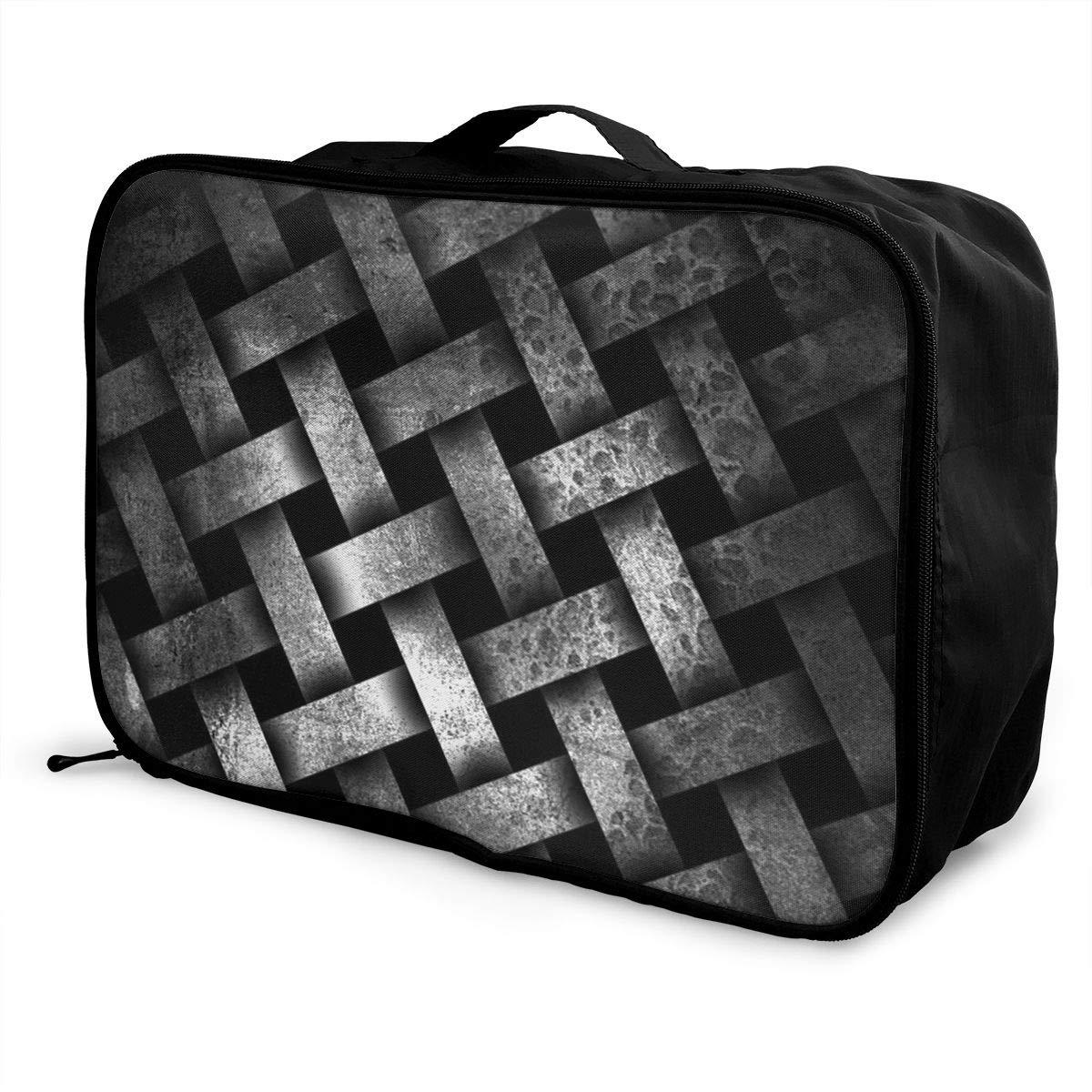 ADGAI Black Weave Pattern Canvas Travel Weekender Bag,Fashion Custom Lightweight Large Capacity Portable Luggage Bag,Suitcase Trolley Bag