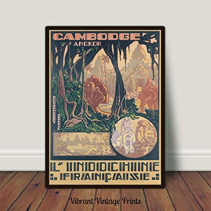 Amazon com: MalertaART Indochine Cambodia Vintage Travel