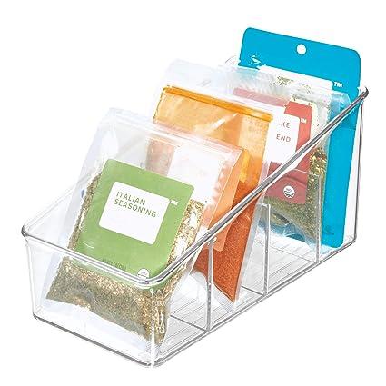 moins cher abab2 20a1c iDesign boîte de rangement à 4 compartiments, grand bac plastique pour  aliments emballés ou épices, bac alimentaire, transparent