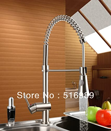 Spring Sink Vessel Solid Brass Tap Brushed Nickel Kitchen Faucet DS ...