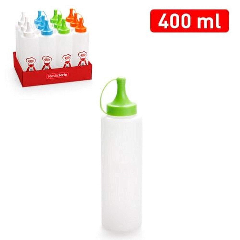 No Plasticforte Pack of 2 Compression Bottles 0.4 L Plastic Reusable Lid Kitchen in Assorted Colours 203 aucune plasticforte