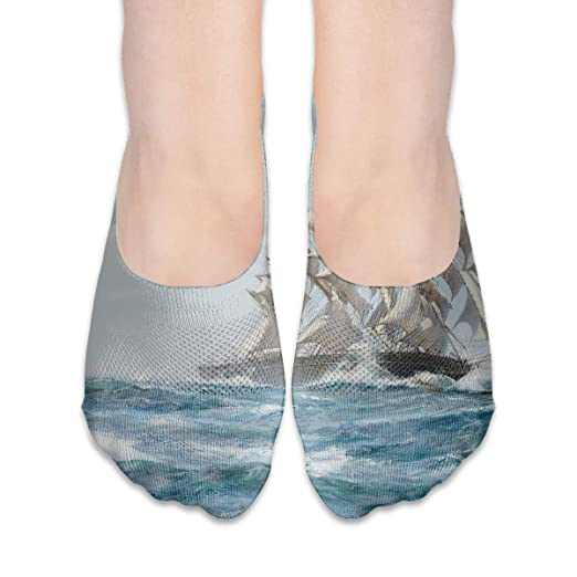 d4652b14390 No Show Socks Sailing Ship Print Low Cut Liner Socks Invisible Athletic  Liners For Women