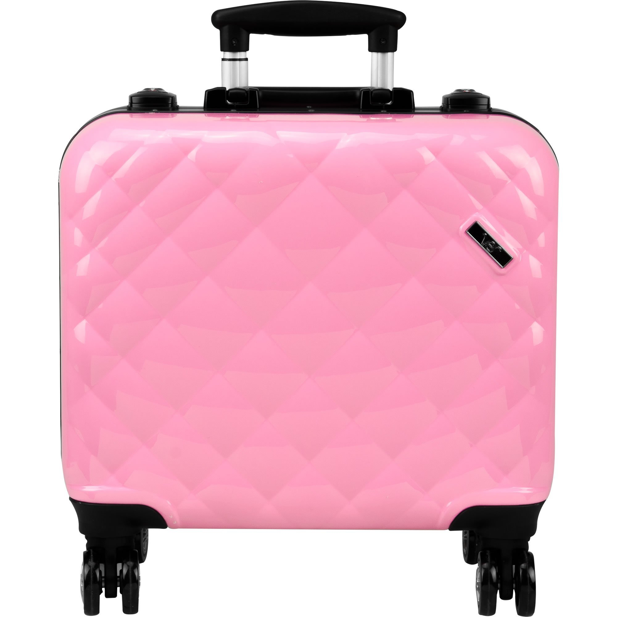 Ver Beauty Professional Travel 4-Wheels Rolling Makeup Studio Case, Quilted Pink by Ver Beauty