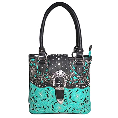Western Rhinestone Buckle Concealed Carry Floral Women/'s Tote Handbag 4 colors