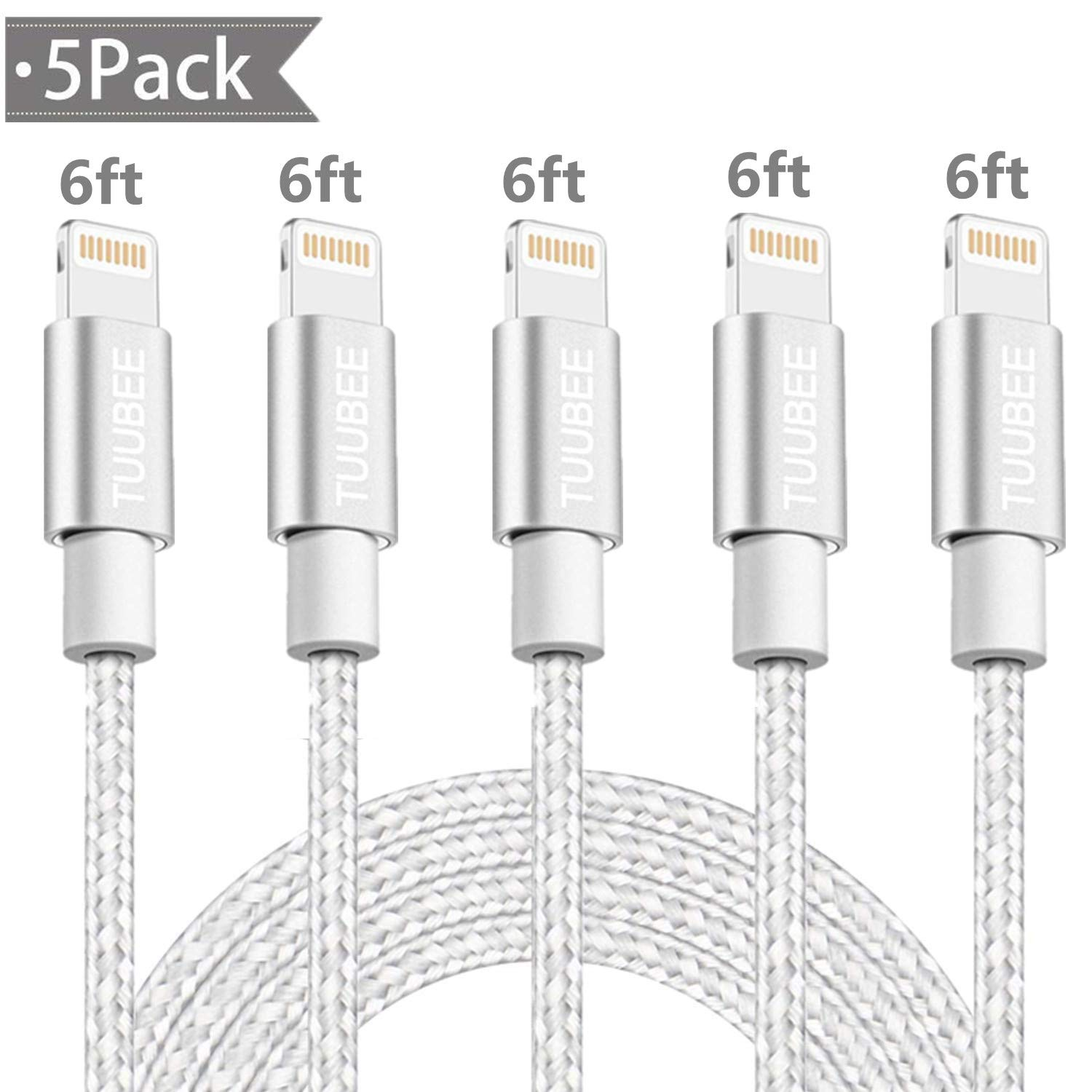 Lightning Cable TUUBEE Nylon Braided iPhone Charger Cable Cord 5Pack 6FT Long MFi Certified iPhone Data Cable Wire USB Fast Charging Cord Compatible iPhone XS/MAX/XR/X/8/7/6/5/iPad/iPod (Silver&White)