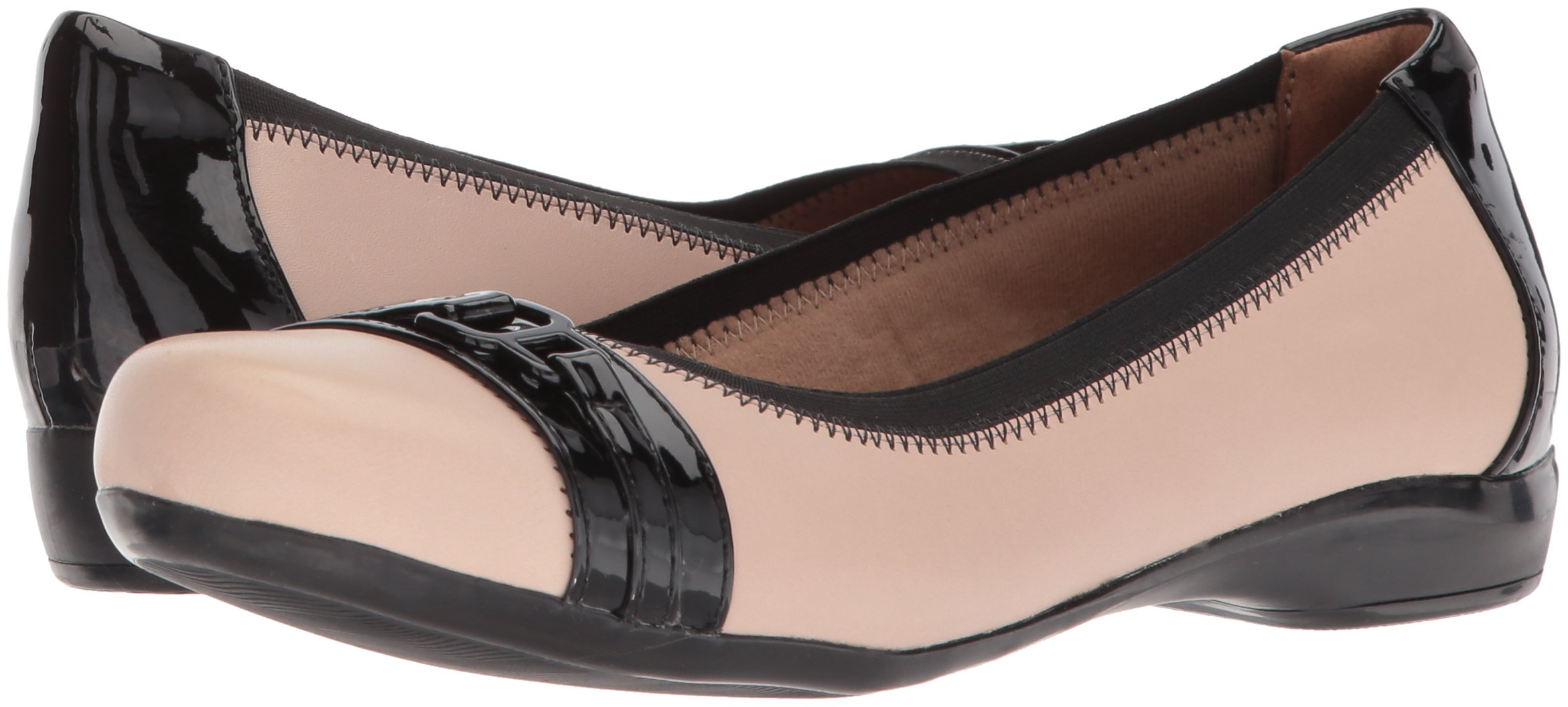 CLARKS Women's Kinzie Light Loafer Flat, Cream Leather/Synthetic Patent, 12 Medium US by CLARKS (Image #6)