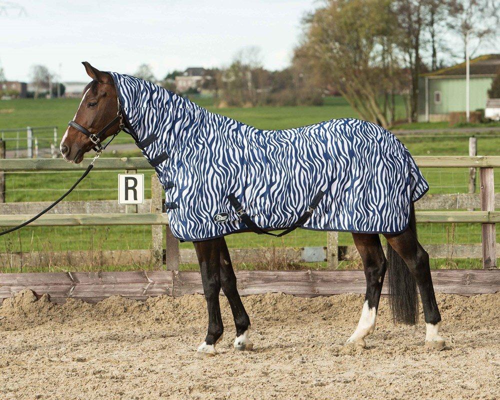 Harry's Horse 32205028–115cm Couverture Anti-Mouches Mesh avec Harnais, S, Zebra French Bleu Harry' s Horse 32205028-115cm