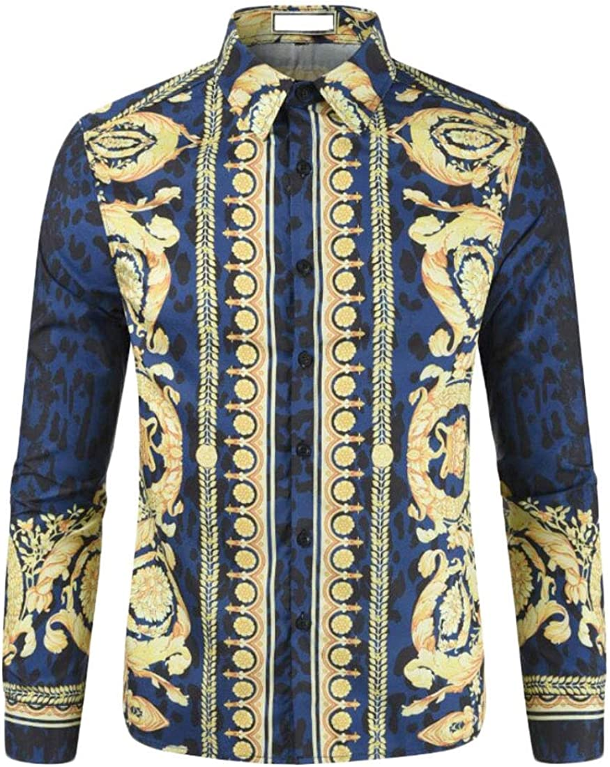 Xswsy XG Mens Nightclub Party Long Sleeve Slim Fit Hipster Print Button Down Shirts