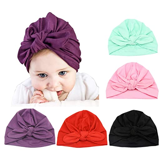 5de25ac9c231c1 Amazon.com: DRESHOW BQUBO 5 Pieces Baby Turban Hats Turban Bun Knot ...