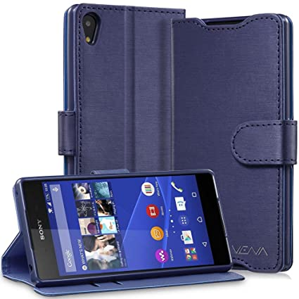 online store cd495 5ab5a Sony Xperia Z3+ Wallet Case - VENA [vSuit] Draw Bench PU Leather Wallet  Flip Cover with Stand and Card Slots for Sony Xperia Z3+ (Oxford Blue)