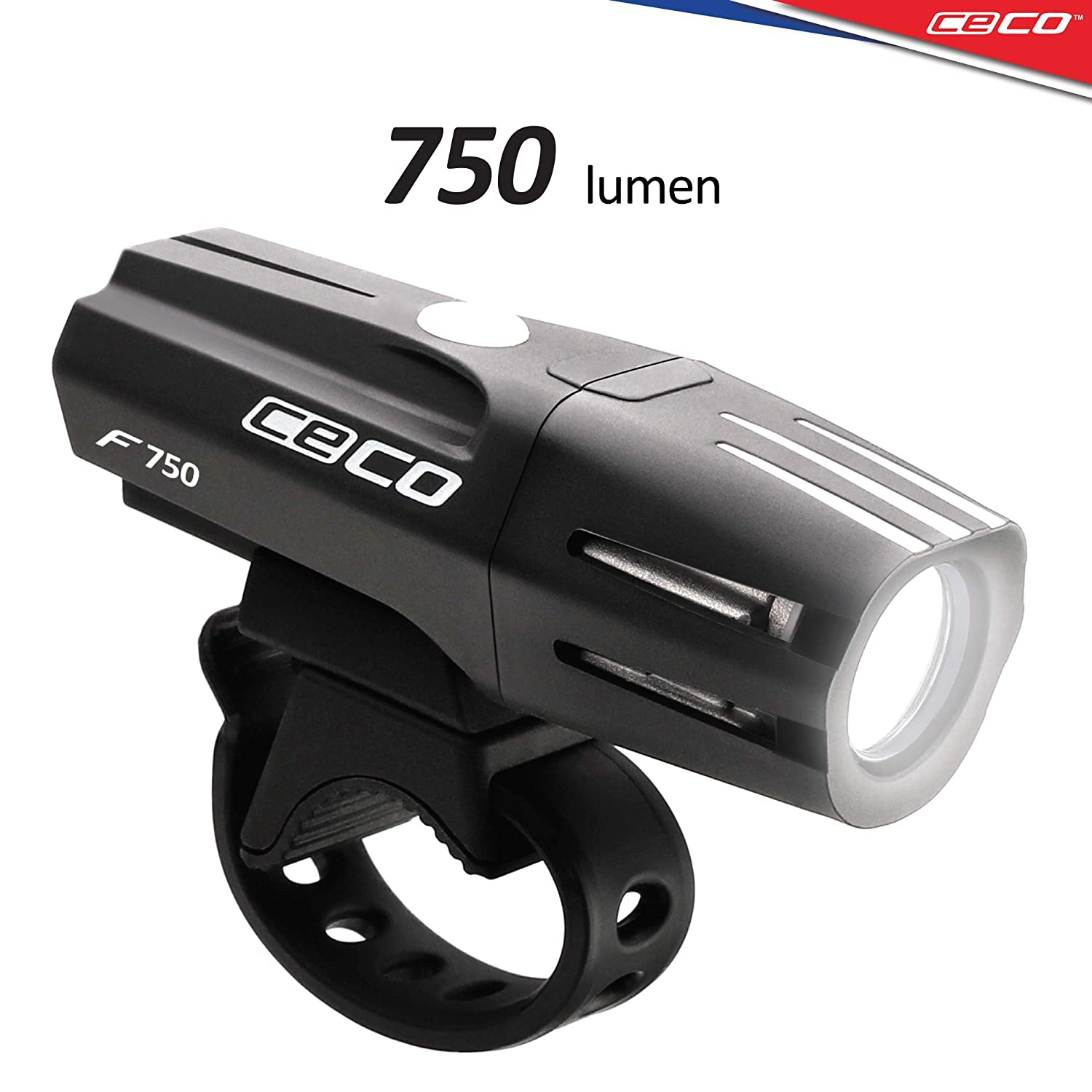CECO-USA 750 Lumen USB Rechargeable Bike Light Tough Durable IP67 Waterproof FL-1 Impact Resistant Super Bright Model F750 Bicycle Headlight for Commuters, Road Cyclists, Mountain Bikers