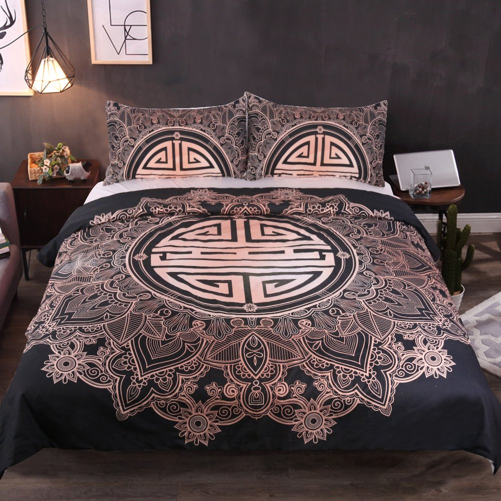 Sleepwish Chinese Bedding Sets 3 Pieces Asian Bedding with Lucky Longevity Gold Bedding India Mandala Duvet Cover Set (Full)
