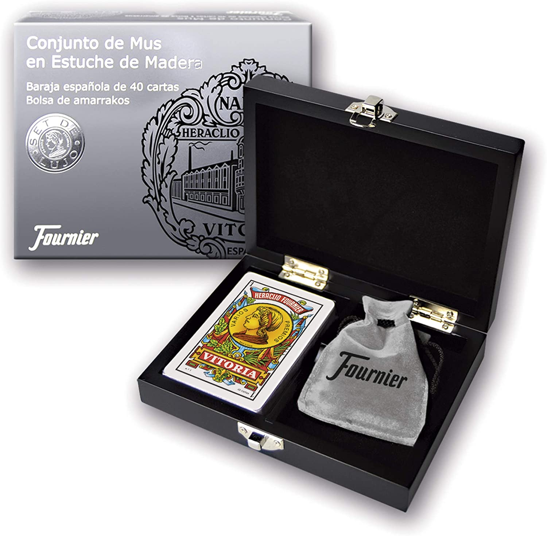 Fournier- Conjunto de Regalo Caja Madera de Mus Baraja y Amarracos, Color Negro (F43413): Amazon.es: Juguetes y juegos