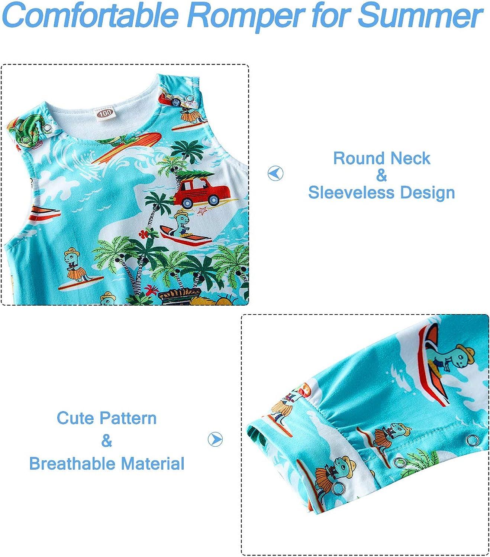 Kids4ever Newborn Baby Romper Dinosaur Shark Animal Onesies Sleveless Bodysuit Summer Jumpsuit for Toddler Girls Boys