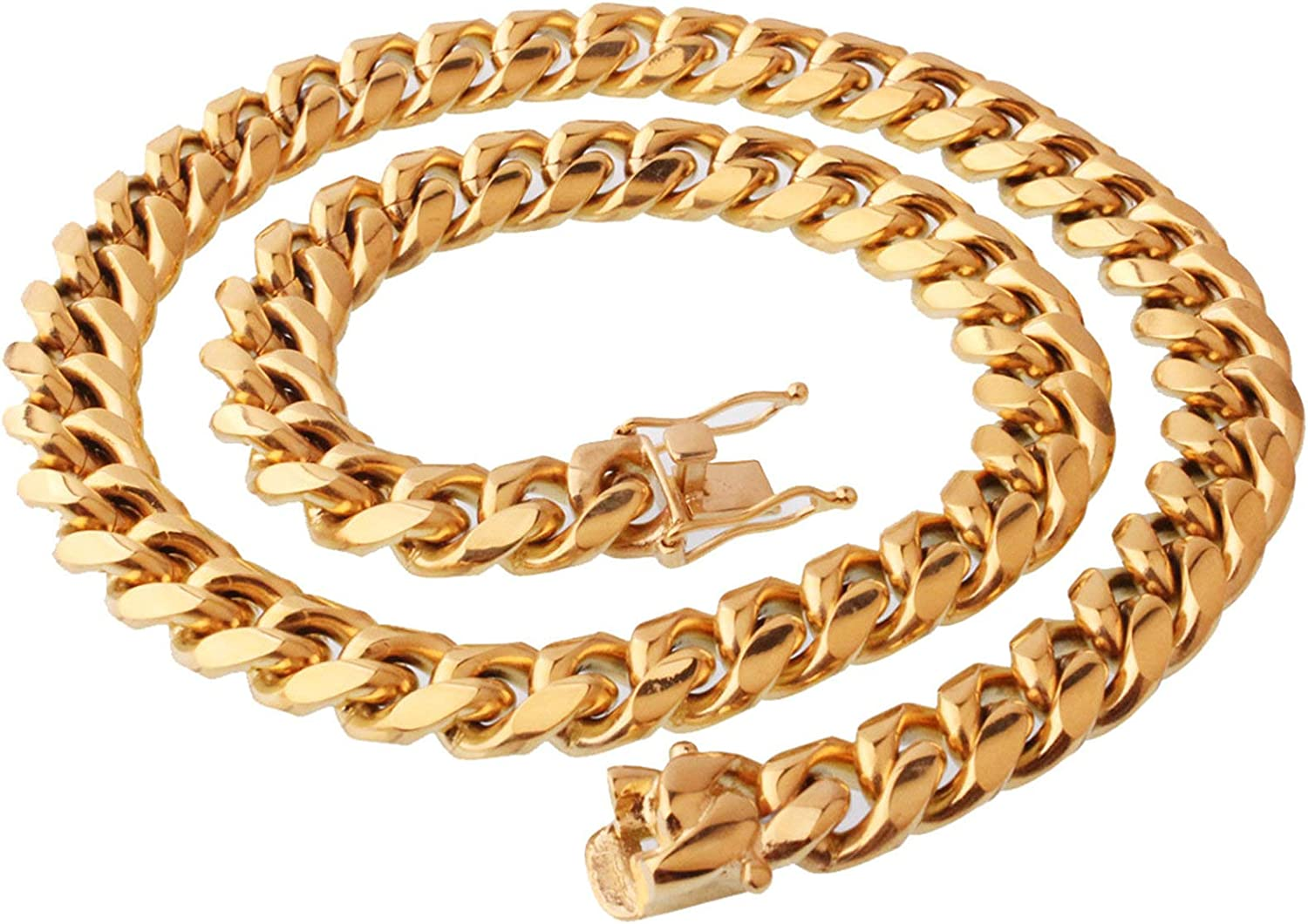 Aooaz Stainless Steel Necklaces Men Cuban Curb Link Chain Necklace Necklace Minimalist Punk Chain Necklace W:8-14mm L:18-36inch