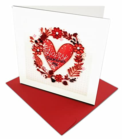 Amazon Com Happy Valentine S Day Wreath Quilling Greeting Card