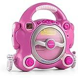 auna Pocket Rocker • Kinder-Karaokeanlage • Karaoke-Player • CD-Player • 2 Kabelgebundene Mikrofone • Kindgerechte Bedienelemente • Abgerundetes Gehäusedesign • Kopfhörer-Ausgang • pink