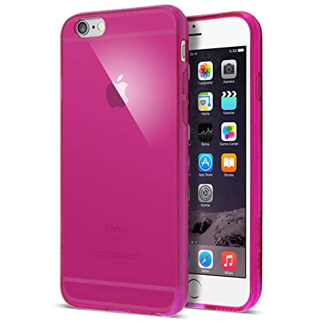 Case Buddy - Carcasa transparente de silicona y protector de pantalla para iPhone 5S, silicona, rosa, para iPhone 6 Plus
