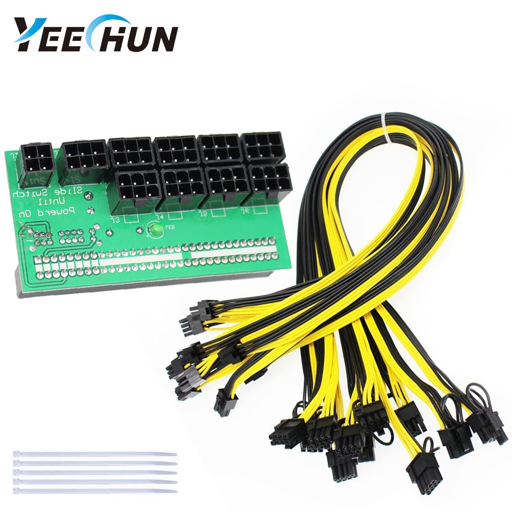 YEECHUN Ethereum ETH ZEC Mining Power Supply 12V GPU/PSU Breakout Board + 9pcs 16AWG PCI-E 6Pin to 6+2Pin Cables (27.5Inch), Power Adapter Board for HP 1200w/750w GPU (with 5 NylonTies)