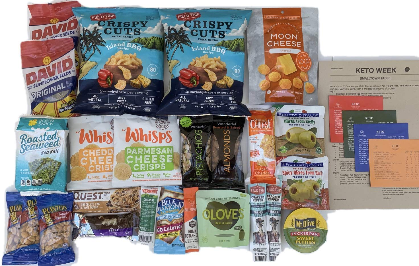 Keto Snacks Healthy Care Package - Keto Magnet Cheat Sheet 25 Count Gift Box - Keto Diet Plan Week, Ultra Low Carb, Ketogenic, Paleo Kit With A Huge Variety of To Go Foods