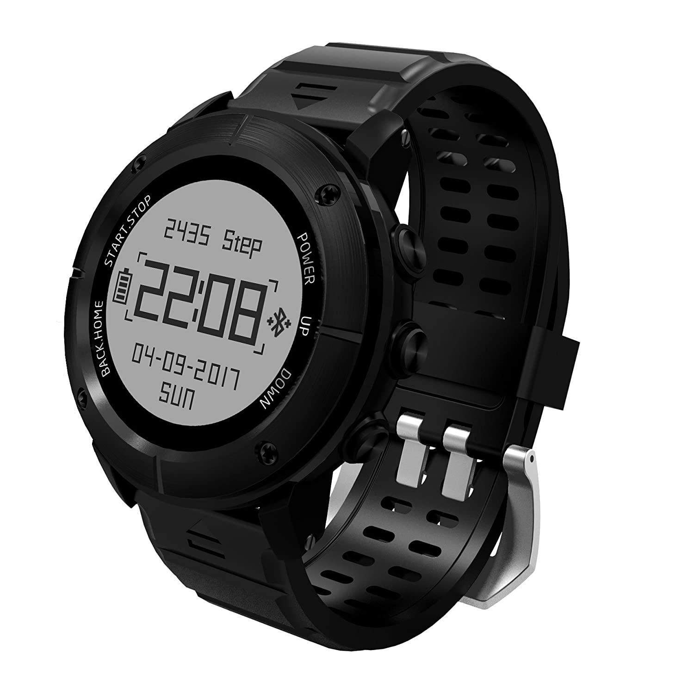 GPS搭載スマートウォッチ 歩数計 心拍数 睡眠計測 健康管理 電話通知 SMS LINE通知 バッテリー長持ち(最長20日間)  outdoor-black B07BJ6ZY37