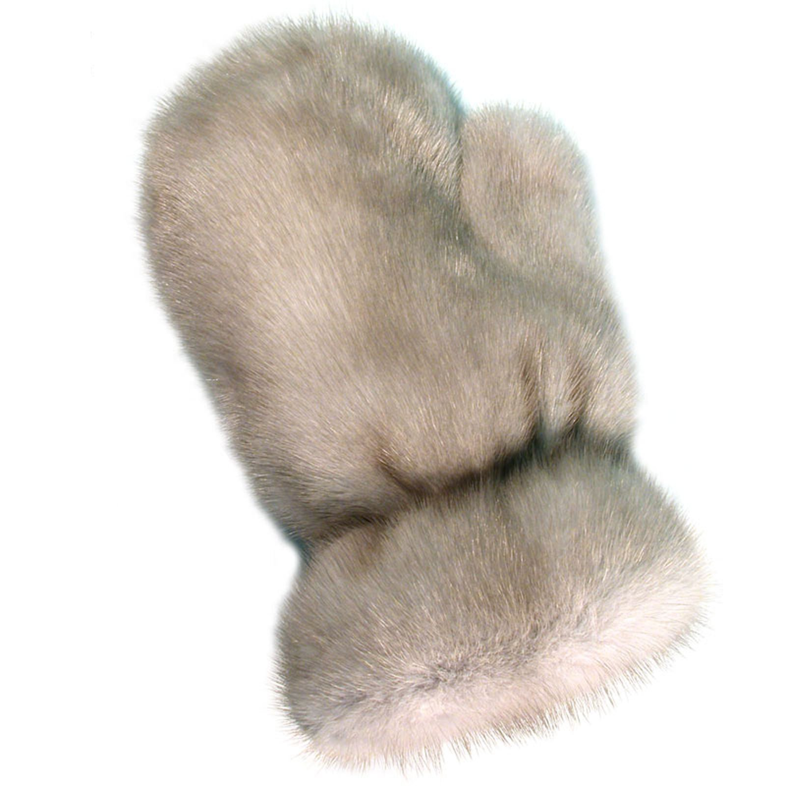 MinkgLove Mink Massage Glove, Silky and Textured Feel, Sapphire Grey Color, Hand Tailored, Unisex, One Size - Double Sided Fur