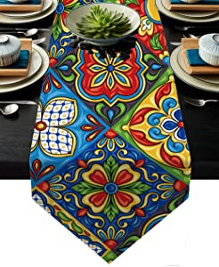 AILUER Mexican Talavera Ceramic Tile Pattern Linen Table Runners Dinner Table Setting Dresser Scarves Farmhouse Style for Party Holidays Home Kitchen Decoration (Mexican Talavera, 13