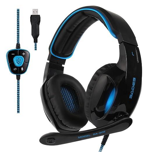 14 opinioni per Sades SA902 Blue 7.1 Surround Sound professionale PC USB Gaming Headset fascia