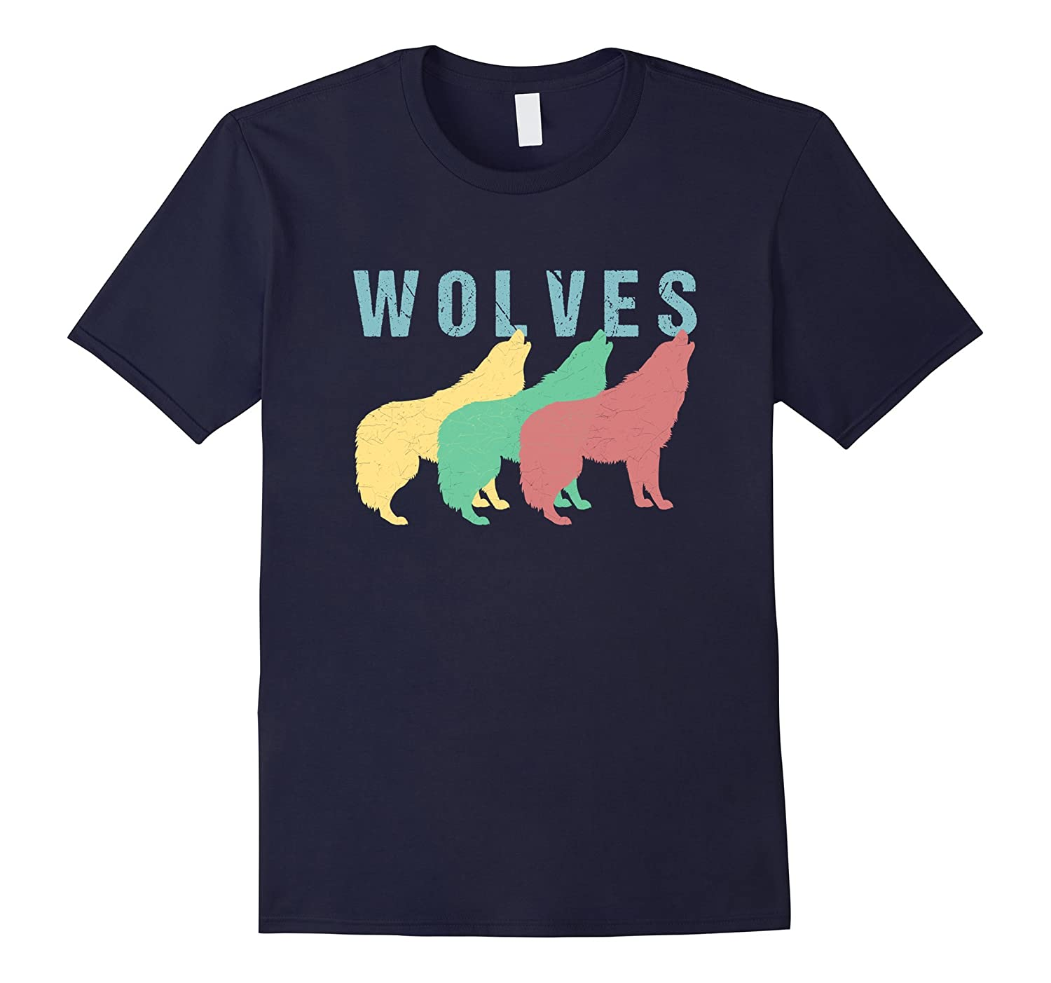 Vintage Distressed Retro Wolves T Shirt-T-Shirt