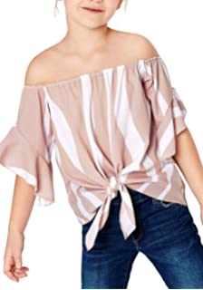 8ce5bc81104bd Shawhuwa Womens Vertical Stripes Off Shoulder Tie Knot Casual Chiffon Blouse  Tops