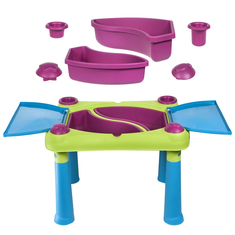 Keter Fun Table Aufklappbarer Kindertisch Spieltisch 79 x 56 x 50 cm (Grün / violett)